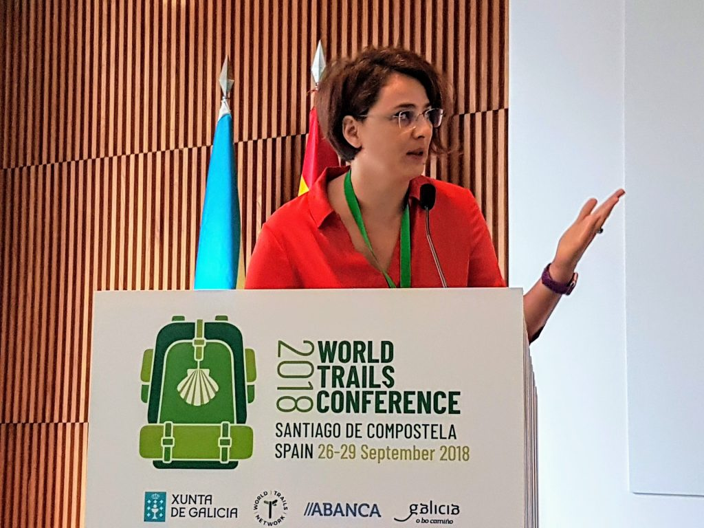 Alina Ovesea (Toura) at World Trails Conference in Santiago de Compostela (2018)